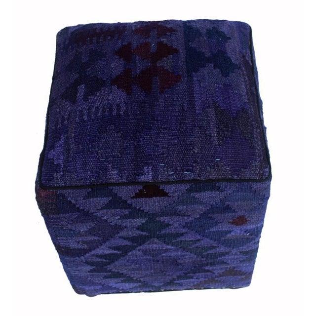 2010s Arshs Demetra Purple/Drk. Gray Kilim Upholstered Handmade Ottoman For Sale - Image 5 of 8