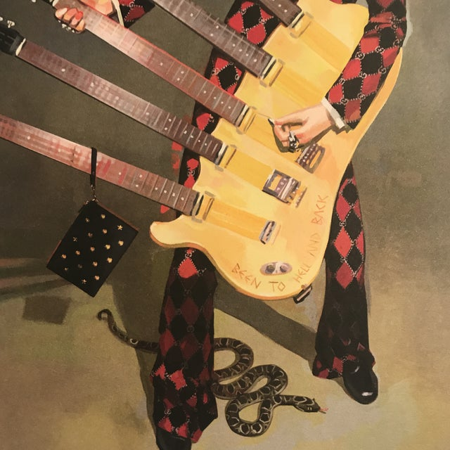Framed Gucci Abstract Motorcycle Shoes & Rockstar Guitar Fashion Self Portrait Art - a Pair For Sale - Image 9 of 11