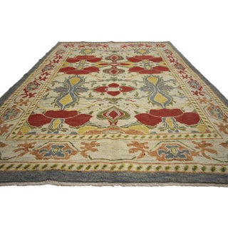 "Turkish Oushak Large-Scale Geometric Pattern Rug -6'4"" X 9'8"" Preview"