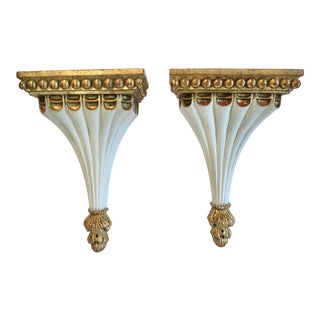 1960s Neoclassical Giltwood Wall Brackets - a Pair For Sale