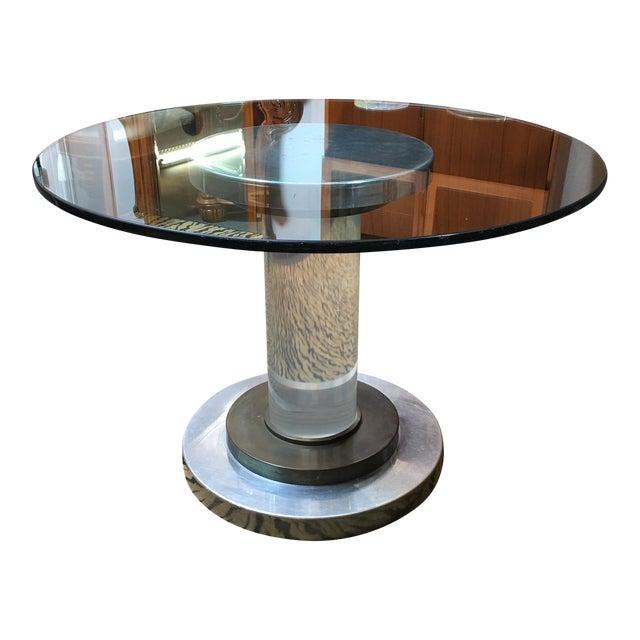 Chateau Pedestal Lantern Nickel: Vintage Lucite, Copper & Nickel Pedestal Dining Table