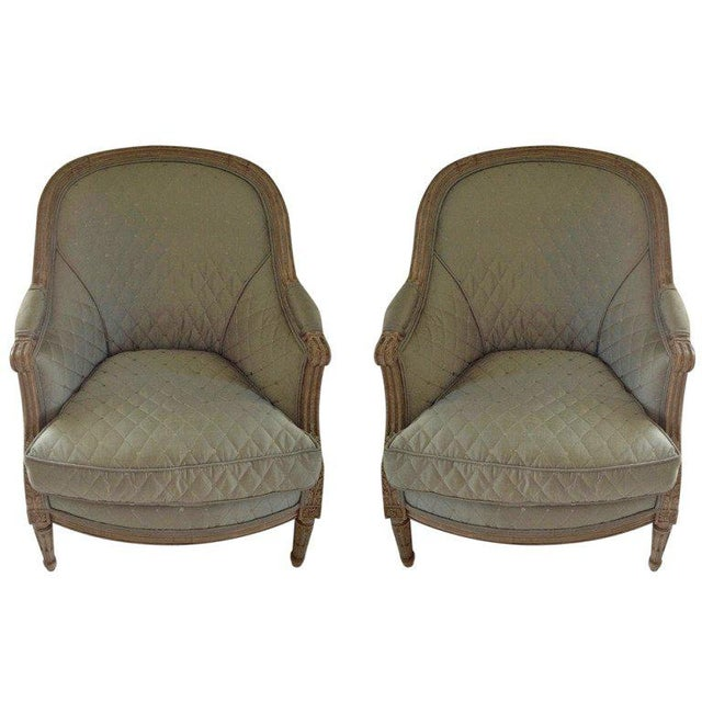 Blue Pair of 19th Century French Bergeres For Sale - Image 8 of 8