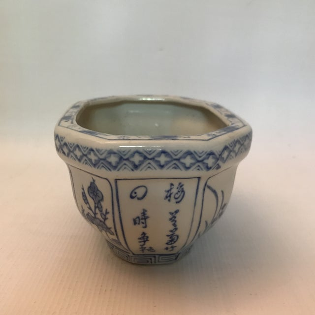 Chinese Blue & White Oval Porcelain Planter For Sale - Image 4 of 12