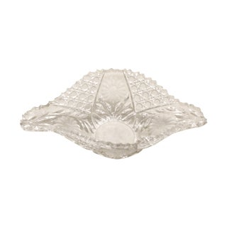 Vintage ABP Etched Flower Cut Glass Fruit Bowl For Sale