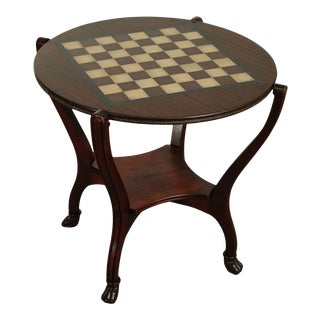 Hunzinger Antique Mahogany Round Claw Foot Games Table For Sale