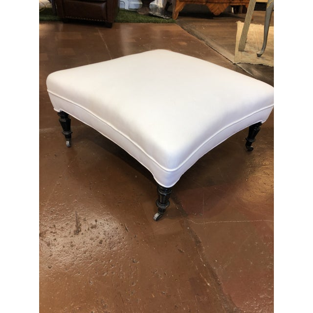 19th Century French White Upholstered Ottoman With Hand Carved Dark Wood Legs on Wheels For Sale - Image 4 of 9