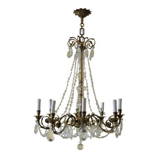 19th Century Maison Bagues Palm Motif Eight Light Crystal & Bronze Chandelier = Neoclassical Style For Sale