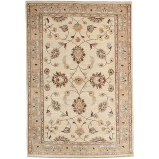 "Oushak Hand Knotted Area Rug - 4' 2"" X 6' For Sale"