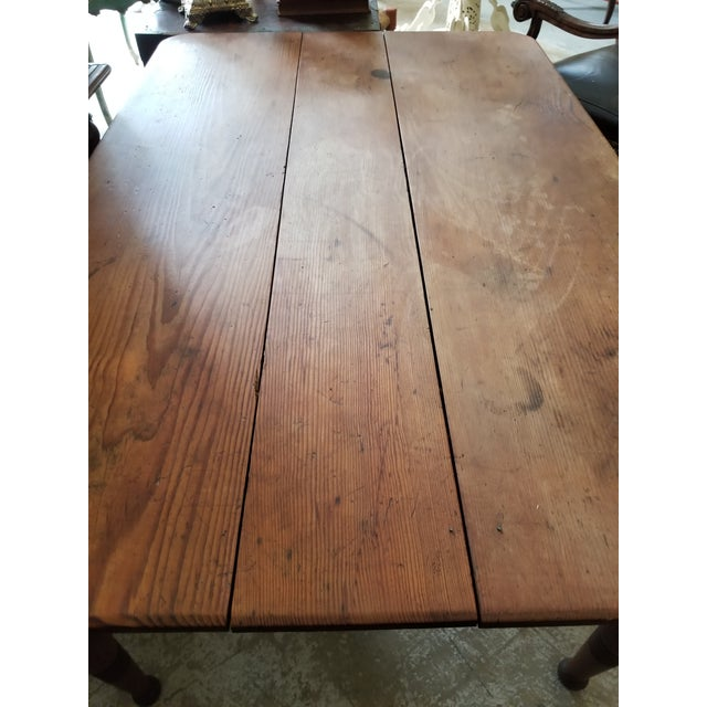 Antique Pine Farm Table For Sale - Image 10 of 12