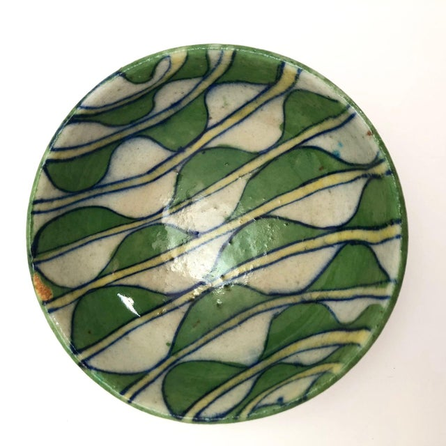 Modern Early 20th Century Green and White Patterned Tin Glazed Small Ceramic Bowl For Sale - Image 3 of 13