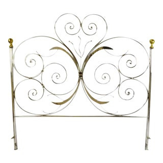 Custom Handcrafted Hammered and Wrought Metal King Headboard For Sale