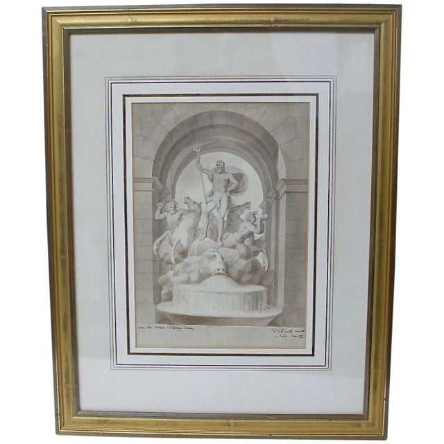 1838 Palazzo Torlonia, Rome Grisaille Neptune Fountain Watercolor Painting For Sale - Image 11 of 11