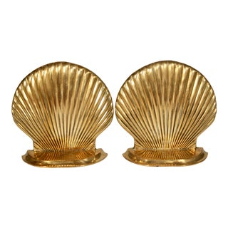 Vintage Coastal Brass Seashell Bookends - a Pair For Sale