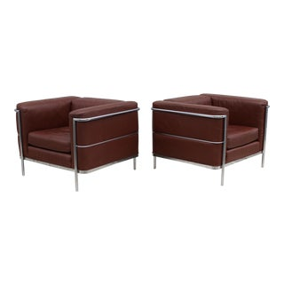 1980's Jack Cartwright Leather and Chrome Lounge Chairs
