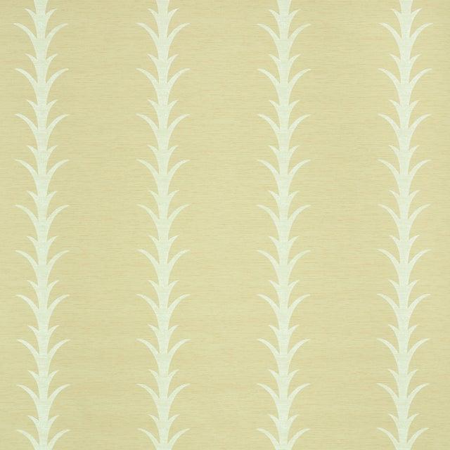 Contemporary Sample - Schumacher X Celerie Kemble Acanthus Stripe Vinyl Wallpaper in Natural For Sale - Image 3 of 3