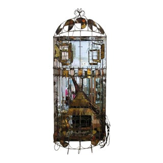 Vintage Brutalist Caged Peacock Wall Sculpture