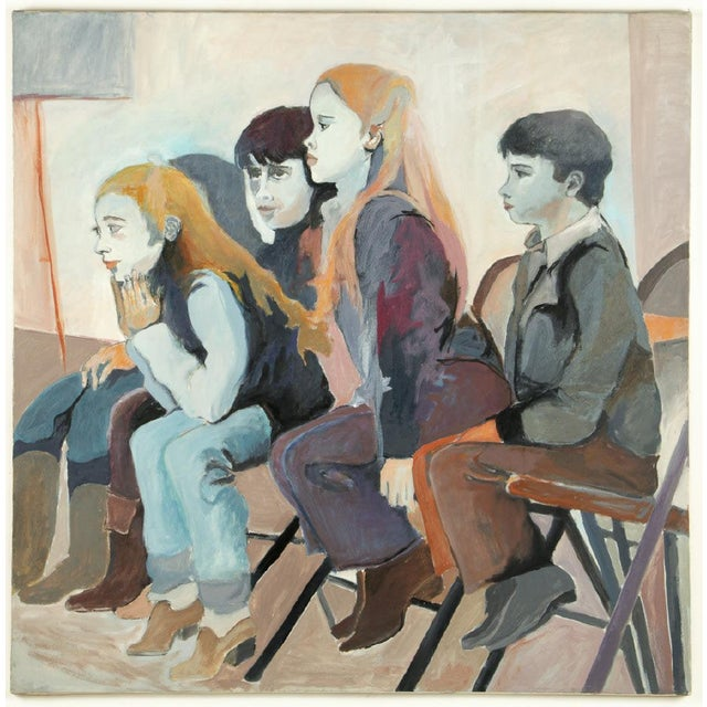 """Abstract Original Frances Jacobson Painting of Seated Children - 36x36"""" For Sale - Image 3 of 3"""