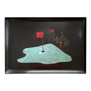 Large Couroc Tray With Turquoise & Brass Inlay Golf Scene For Sale