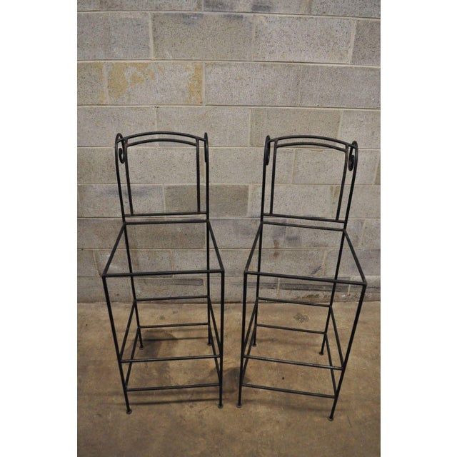 Wrought Iron Curule Frame Scroll Back Seat Bar Counter Stools - a Pair For Sale - Image 10 of 11