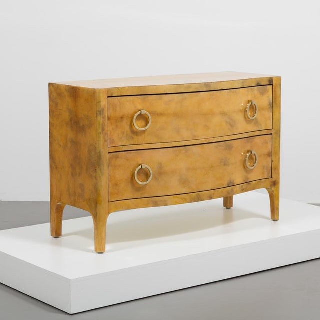 A truly stunning two drawer commode, inspired by the Art Deco period. Deep burnt orange patina in excellent original...