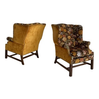 Floral and Marigold Upholstered and Walnut Wingback Chairs - a Pair For Sale