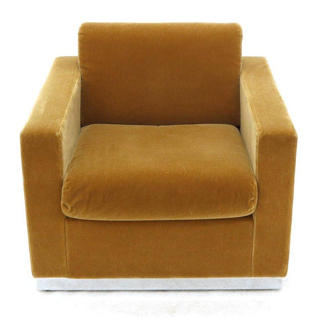 Mid-Century Modern Three Pieces Mohair Living Room Set Club Chairs Love Seat Sofa For Sale - Image 3 of 13