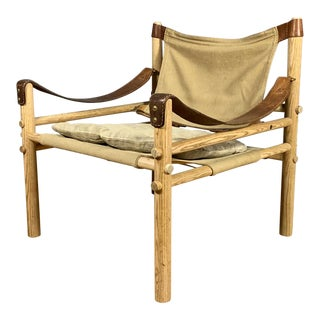 "Arne Norell ""Scirocco"" Safari Chair, Canvas & Leather, Sweden For Sale"