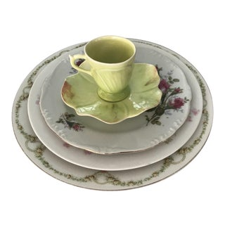 Vintage Floral China Table Setting For Sale