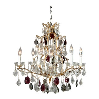 Vintage 20th Century French Brass and Cut Crystal Chandelier For Sale