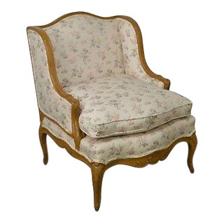 French Louis XV Custom Upholstered Carved Frame Wide Seat Bergere Lounge Chair For Sale