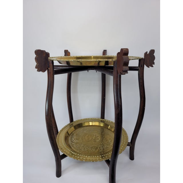 Vintage Asian 2 Tier Brass Tea Table with Engraved Elephants, Deer, and Birds For Sale - Image 6 of 9