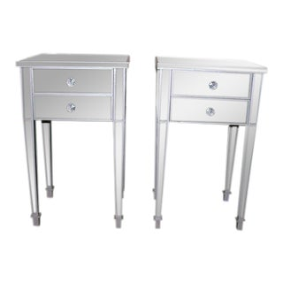 Pair of Custom Mirrored Two-Drawer Commodes For Sale