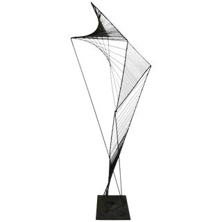 Modern Abstract Architectural Wire Iron Sculpture in the Manner of Roy Gussow For Sale