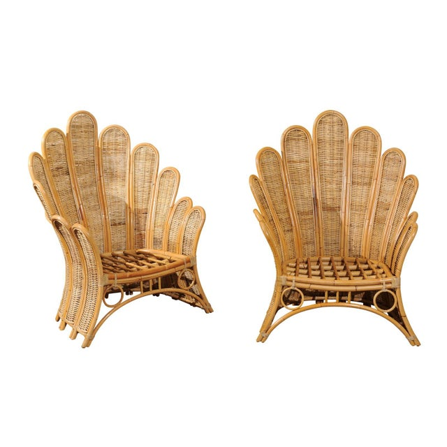 Majestic Restored Pair of Vintage Rattan and Wicker Palm Frond Club Chairs For Sale - Image 11 of 11