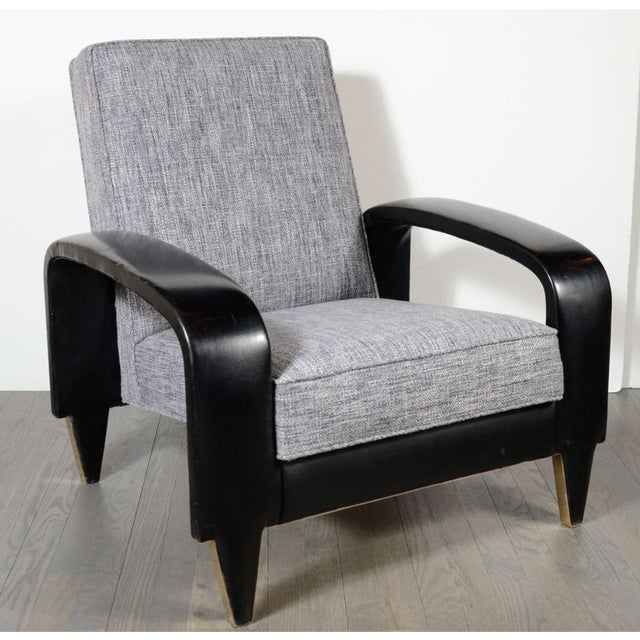 Italian Art Deco Gray Upholstered Club Chair For Sale - Image 4 of 7