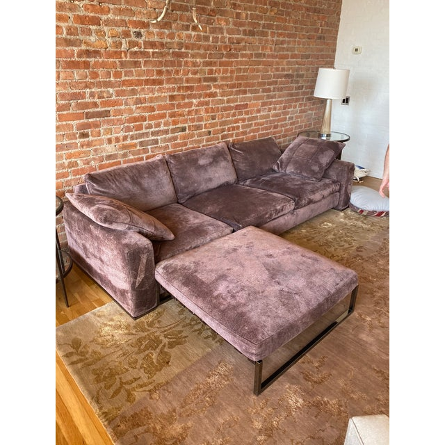 Minotti Purple Sofa and Ottoman For Sale - Image 10 of 10