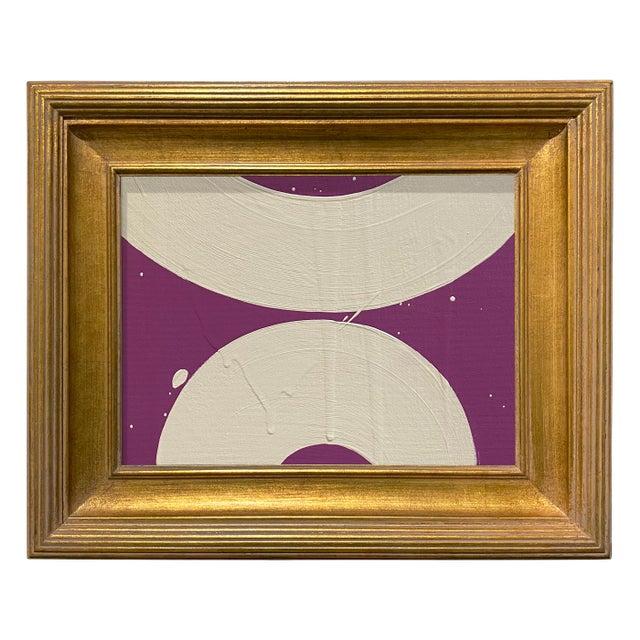 Ron Giusti Mini Wagasa Purple and Cream Acrylic Painting, Framed For Sale - Image 4 of 4