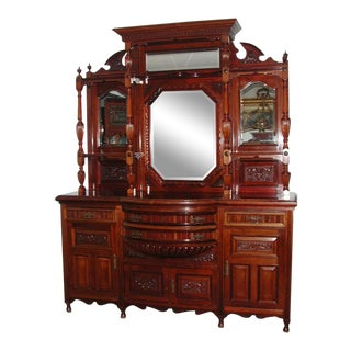 Carved Early 20th Century Rosewood Cabinet