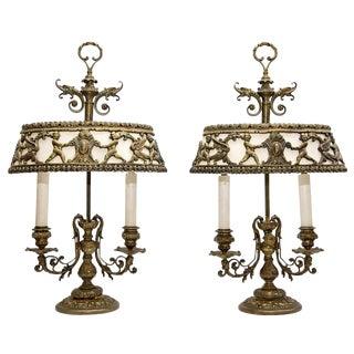 1920s Antique Bouillotte Lamps - a Pair For Sale