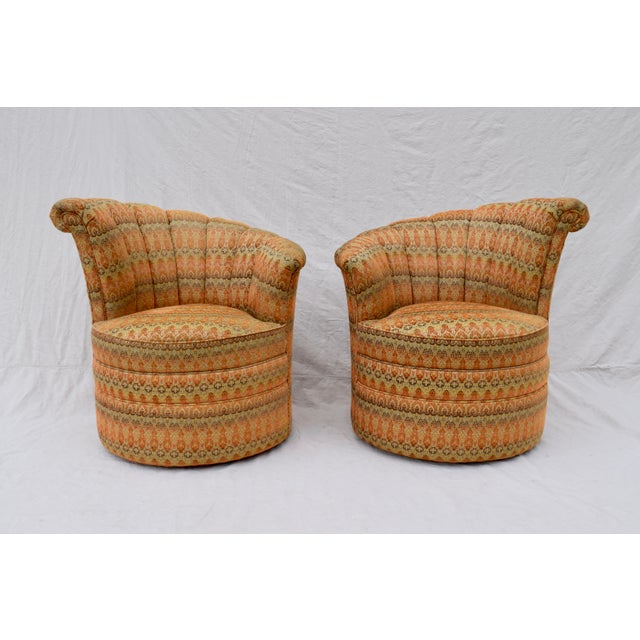 Channel Back Swivel Art Deco Inspired Chairs For Sale - Image 13 of 13