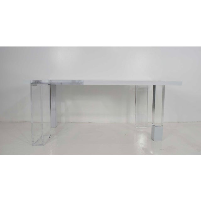Modern Contemporary Lucite & White Lacquer Desk For Sale - Image 3 of 10