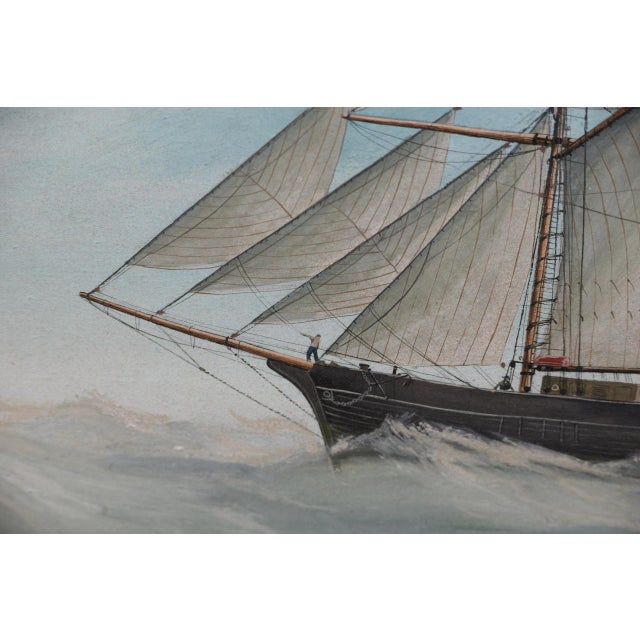"""Blue Original Watercolor of the British Ship """"Kate"""" Out at Sea C.1890s to 1910 For Sale - Image 8 of 11"""