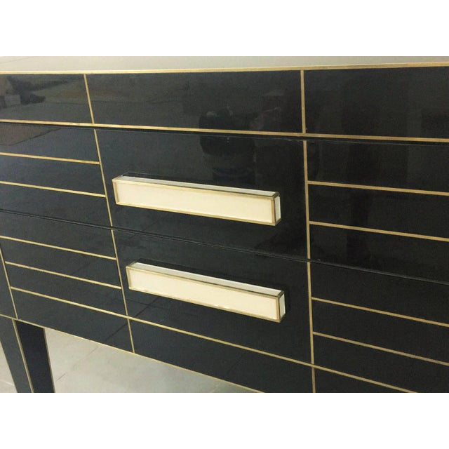 Chest of Drawers in Black Mirror With Ivory Glass Handle For Sale In Miami - Image 6 of 9