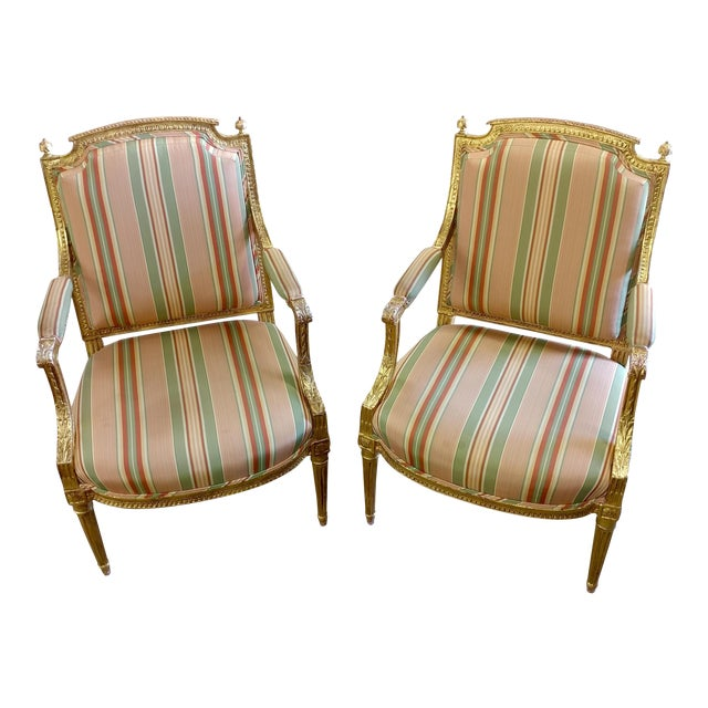 19th Century French Louis XVI Gilt Wood Fauteuils Chairs-A pair For Sale