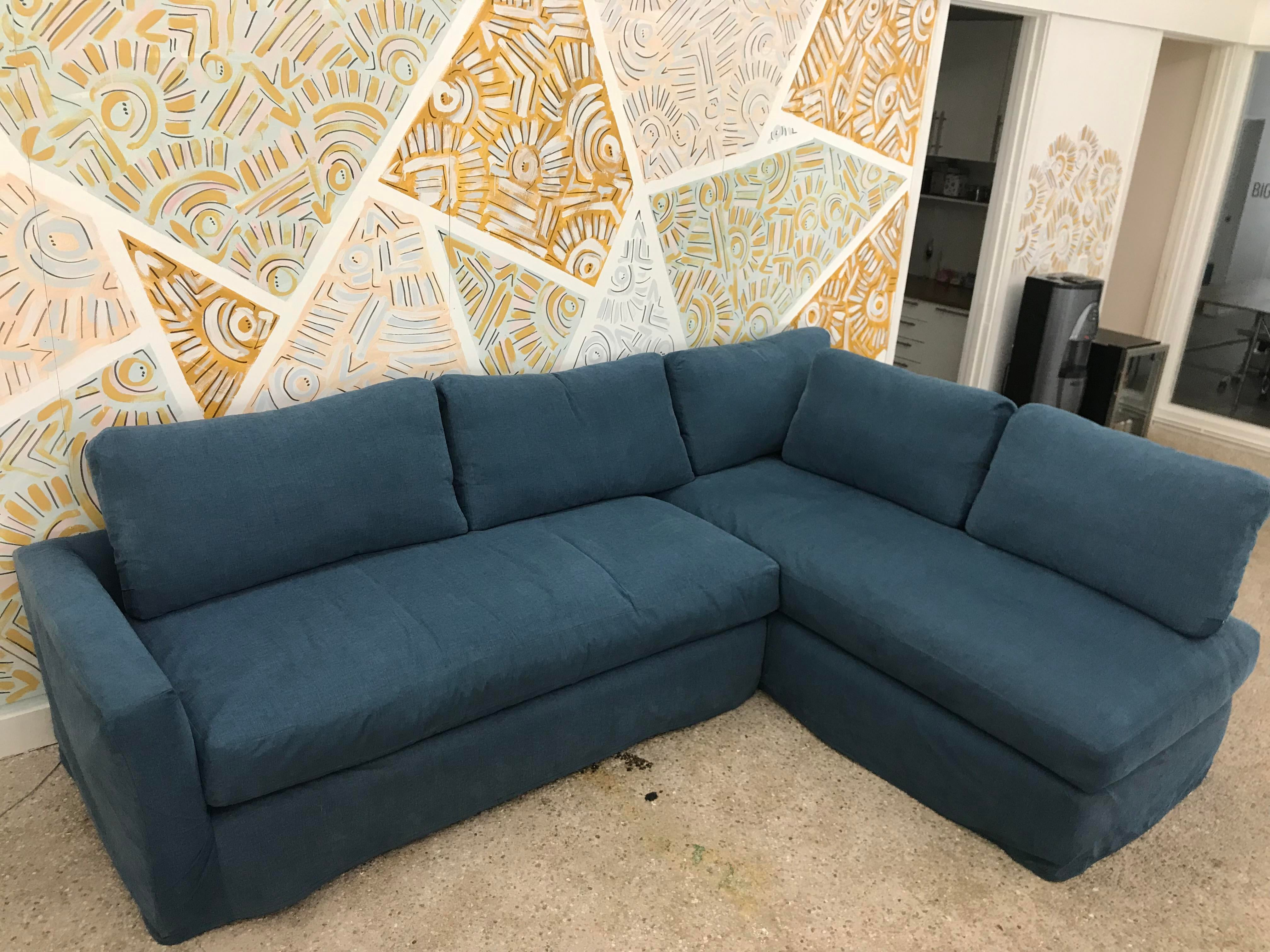 2010s Shabby Chic Rachel Ashwell Ink Blue Sectional Sofa For Sale   Image 5  Of 7