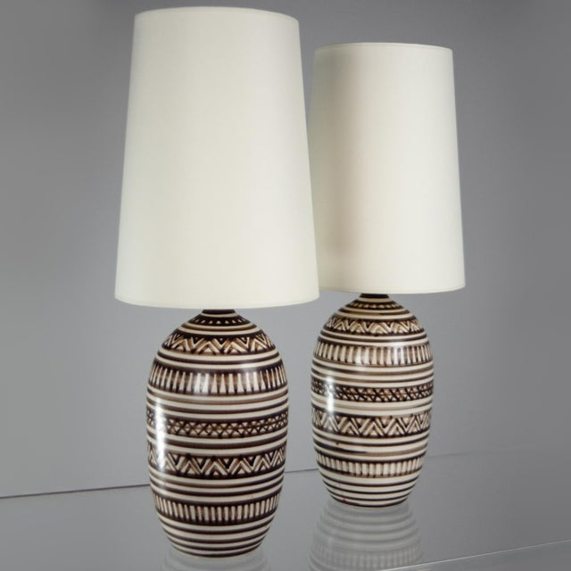 Tribal Lotte Stoneware Table Lamps - A Pair - Image 2 of 3