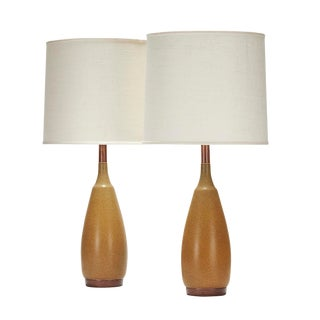 Lancaster Lamp in Warbler Egg Glaze With Walnut Details - a Pair For Sale