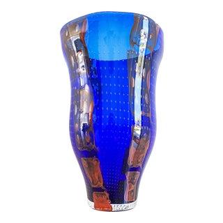 1990s Barovier E Toso Murano Modern Glass Vase For Sale