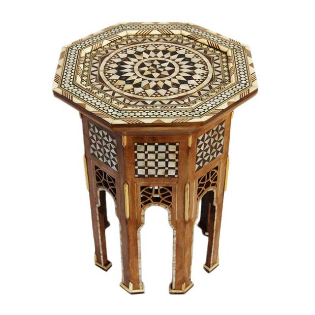 Moroccan Inlay Side Table - Image 1 of 4
