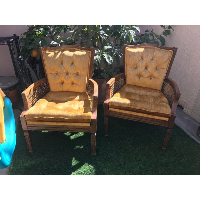 French Velvet Tufted Cane Chairs - A Pair - Image 4 of 4